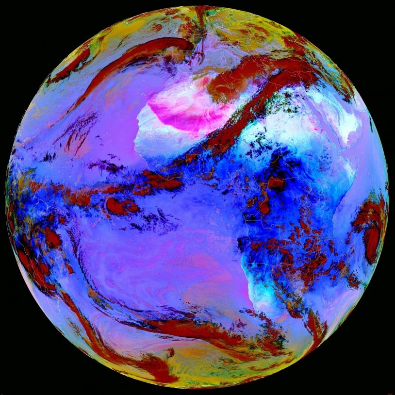 La Terre vue par Météosat deuxième génération.