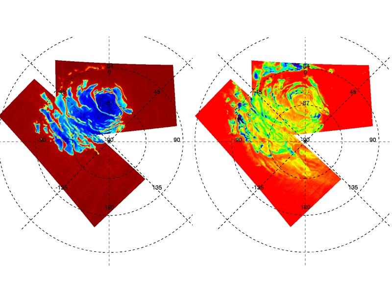 Figure 1 : Carte globale des glaces de CO2 (à gauche) et d'eau (H2O à droite) au pôle Sud de Mars. Les zones bleues indiquent une forte abondance de glace, les zones rouges - marrons indiquent une faible abondance. Crédits : ESA/IAS