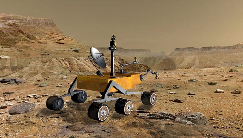Vue d'artiste de Mars Science Laboratory. Crédits : NASA/JPL