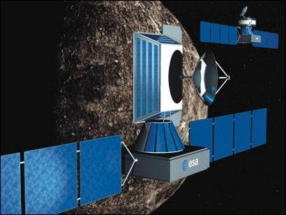 Artist's impression of Bepi-Colombo. Foreground, Mercury Planetary Orbiter (MPO). Background, Mercury Magnetospheric Orbiter (MMO). Credits: ESA 2001, Illustration by Medialab