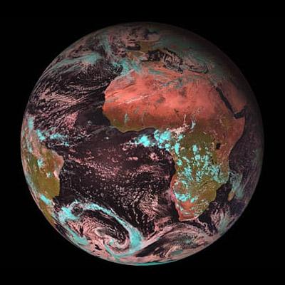 Une image du satellite MSG-2 ; crédits : Météo France