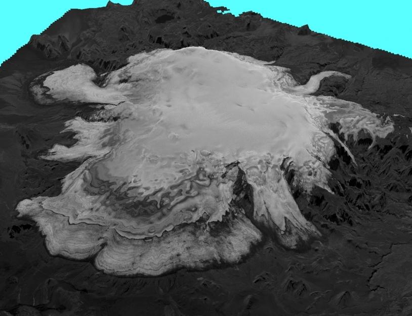 Vue en 3D d'un glacier du sud de l'Islande obtenue avec l'instrument stéréoscopique HRS du satellite SPOT 5. Crédits : CNES 2007/Distribution Spot Image/Traitement CNRS-LEGOS.