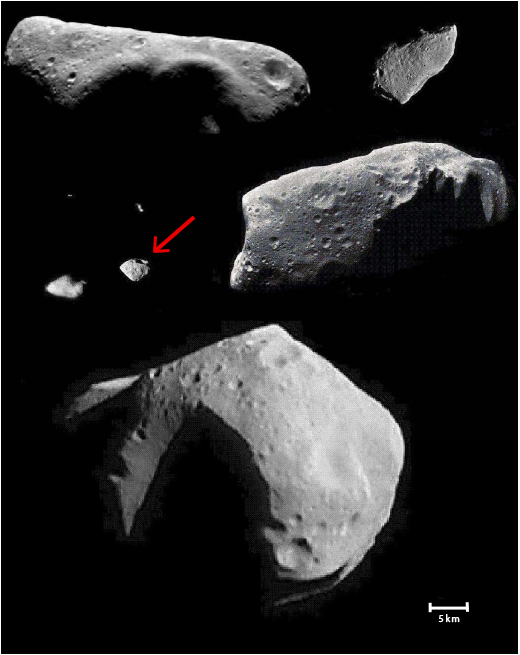 Comparativement aux autres astéroïdes déjà survolés, Steins est très petit. Il mesure un peu plus de 5 km de diamètre. Crédits : Lucy McFadden, Université du Maryland.