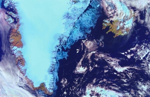 Greenland seen by Vegetation instrument abord Spot 4. Crédits : CNES/Dist. Spot Image