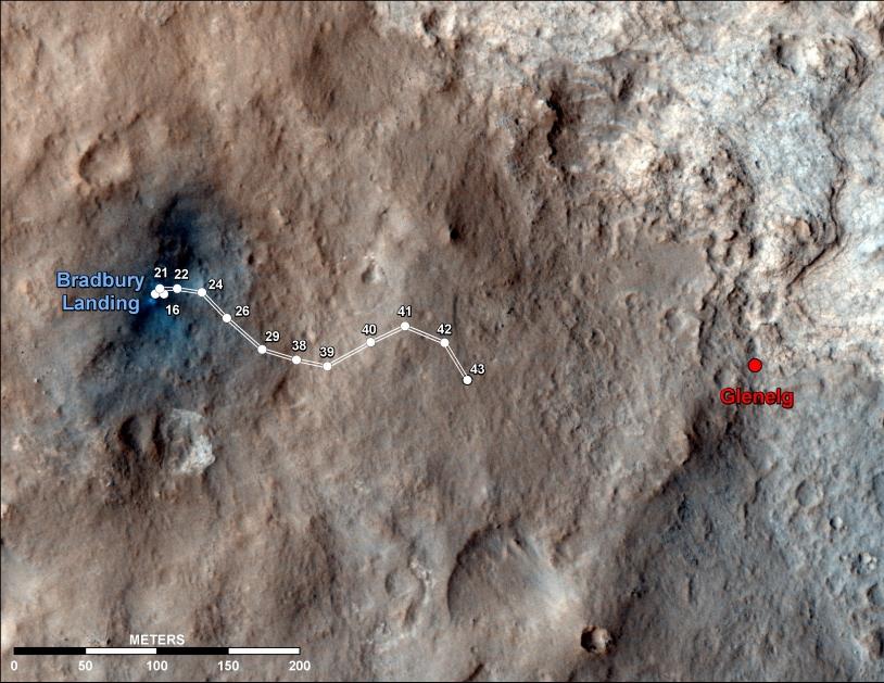 Cheminement du rover Curiosity au 43e jour martien. Crédits : NASA/JPL-Caltech/Univ. of Arizona.